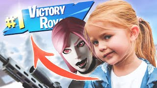 WINNING MY BABY SISTER A GAME OF FORTNITE BY HITTING A TRICKSHOT