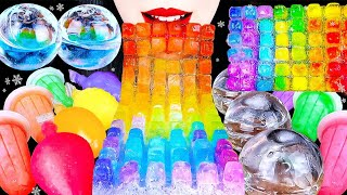 ASMR CRUNCHY ICE 얼음먹방, 무지개 얼음젤리 RAINBOW ICE JELLY NOODLES, CLEAR ICE EATING DRINKING SOUNDS MUKBANG