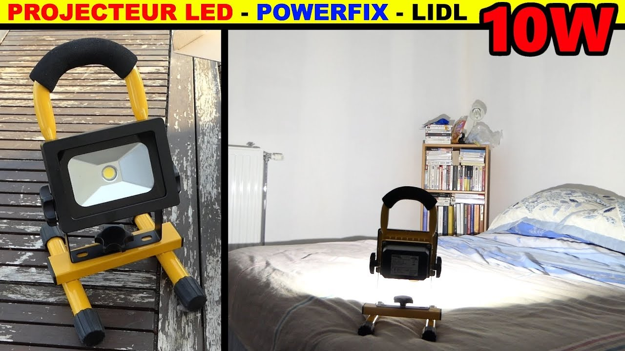 lidl projecteur led sans fil powerfix 10 watt. Black Bedroom Furniture Sets. Home Design Ideas
