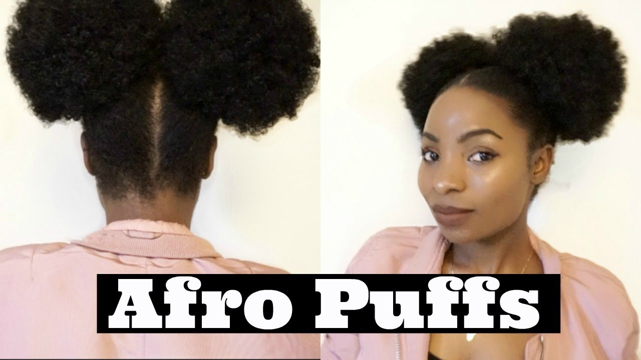 Double Buns / Afro Puffs hairstyle   sleek Afro Drawstring Pony tail ...