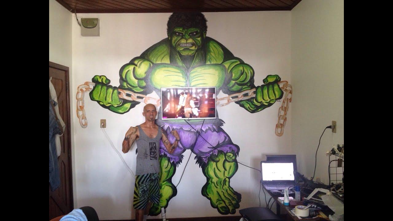 Pintura hulk em parede obra de elciclei araujo youtube - Pinturas de paredes ...