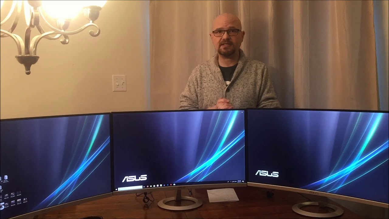 ASUS VZ27VQ monitor blogger review and 3 monitor demonstration