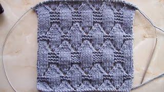 Ажурный узор крупными ромбами Вязание спицами Видеоурок 116