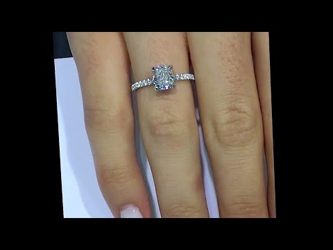1 Carat Cushion Cut Diamond Engagement Ring Thin Band