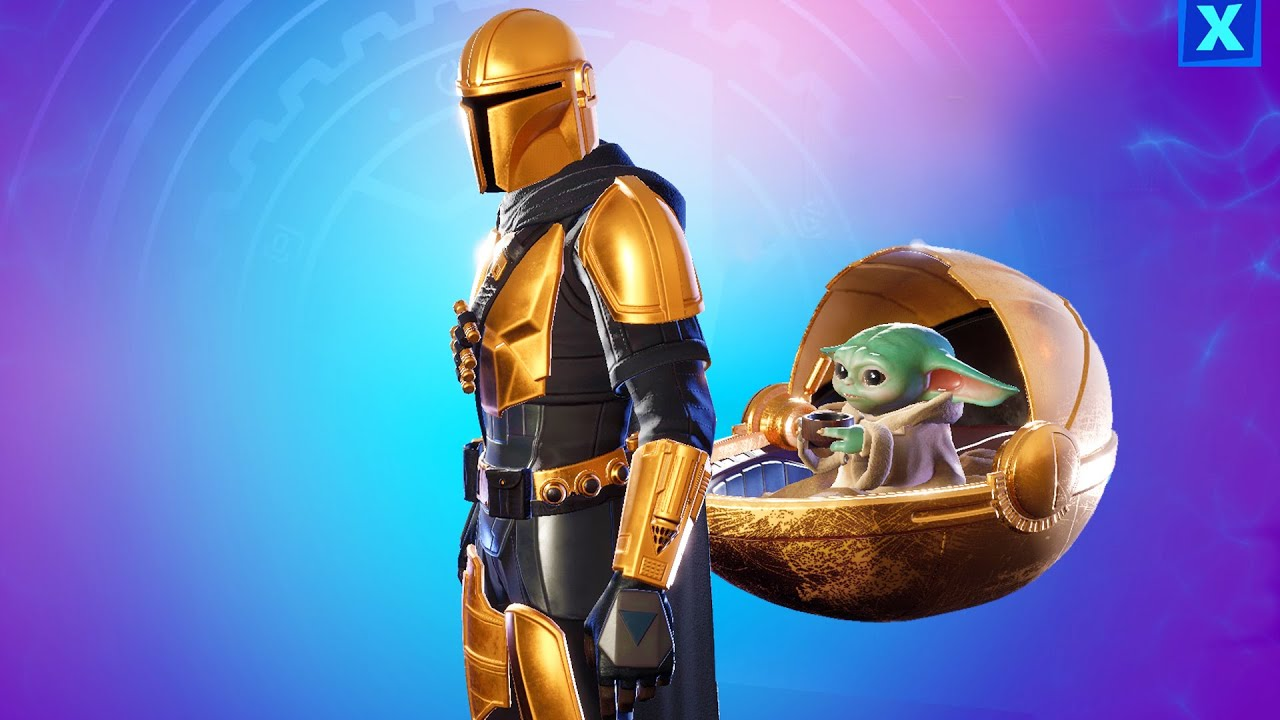 Golden Mandalorian Skin The Child Backbling The Reach Baby Yoda Fortnite Battle Royale This character is one of the fortnite battle pass cosmetics in chapter 2 season 5. reach baby yoda fortnite battle royale