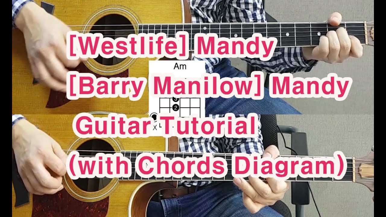 westlife barry manilow mandy acoustic guitar with chords diagram  [ 1280 x 720 Pixel ]