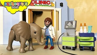 Elephant is sick from PLAYMOBIL Animal Clinic - zoo hospital, vet animal toys for kids