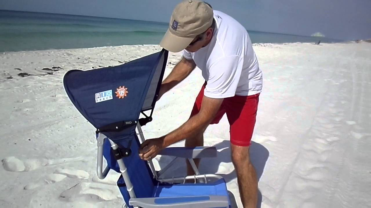 & Beach Chair with Canopy - Easy Clip On For Shade - YouTube