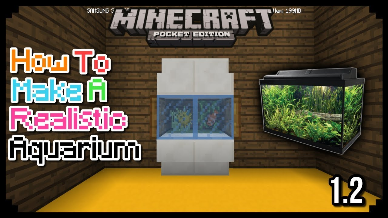 HOW TO MAKE A REALISTIC AQUARIUM USING STAINED GLASS IN MCPE 1.2 ... 7761f822b