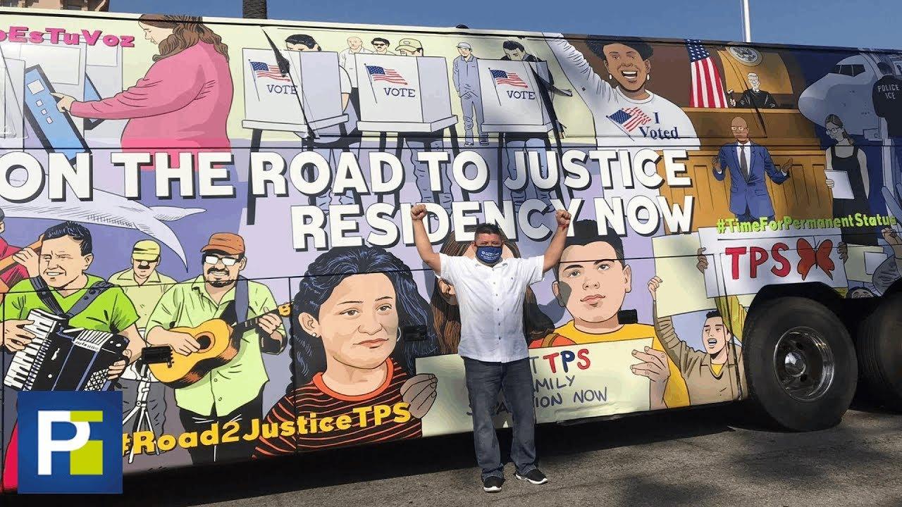 Familias hispanas viajan en autobús a Washington para alzar su voz sobre el fin del TPS