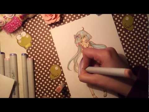 Coloring with Copic Markers - The dress
