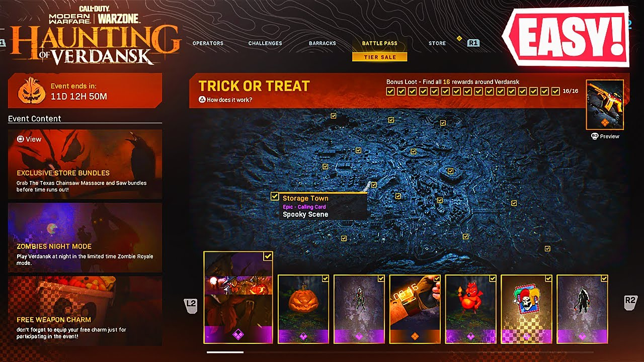 How To Complete All 16 Reward Locations In Halloween Trick Or Treat Event Haunting Of Verdansk Youtube
