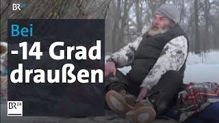 Obdachlose in der Kälte - Bei minus 14 Grad nachts im Schlafsack