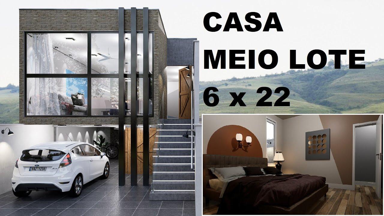 Download CASA GEMINADA DE 6 x 22 METROS, EM MEIO LOTE