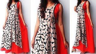 DIY Designer Stylish Double Layer Kurti Cutting And Stitching Tutorial