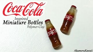 Coca Cola inspired miniature bottles - Polymer clay tutorial
