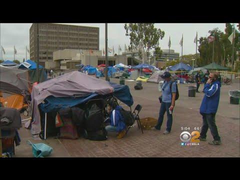 Clearing Of Homeless At Santa Ana Civic Center Underway