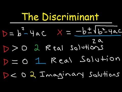 Discriminant Equation - Quadratic Formula - Real ...