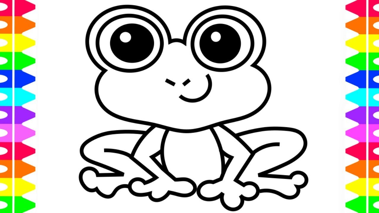 How to Draw a Cartoon Frog| Frog Coloring Page for Kids ...