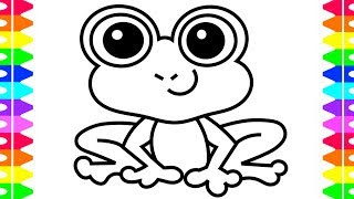 frog cartoon draw coloring children colored markers
