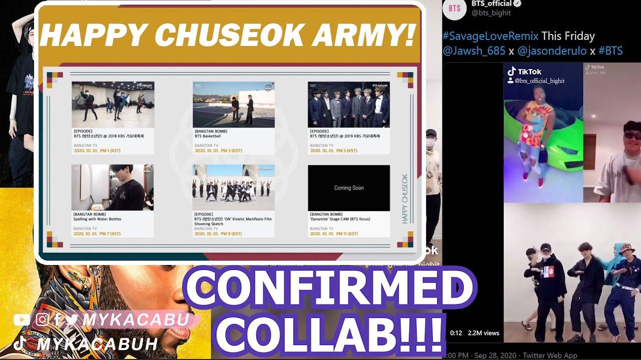 BTS to Join Jason Derulo and Jawsh 685 for Savage Love Remix ♡ OCT 1 SCHEDULE, Happy Chuseok ARMY!!