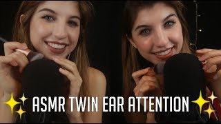 ASMR Twin Ear Attention ~ Binaural Brushing, Inaudible Whispers, Scratching, Mouth Sounds etc