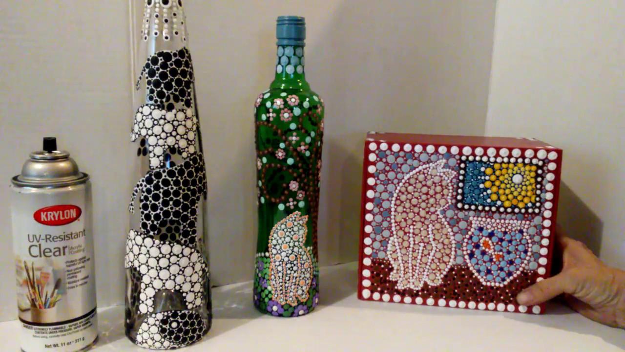 Mandala Dot Painting Upcycling Recycling Glass Bottles