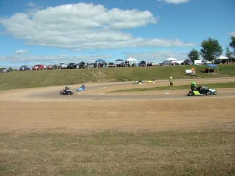 Rice Lake Speedway Kart Track, 8-24-2019. Pit view of Feature Race.