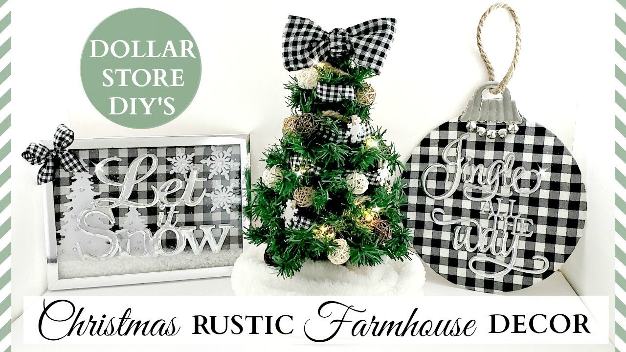 Dollar Store Diy S Rustic Christmas Farmhouse Decor Black White Buffalo Check Theme Youtube