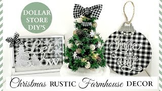 Dollar Store DIY's ~ Rustic Christmas Farmhouse Decor ~ Black & White Buffalo Check Theme!