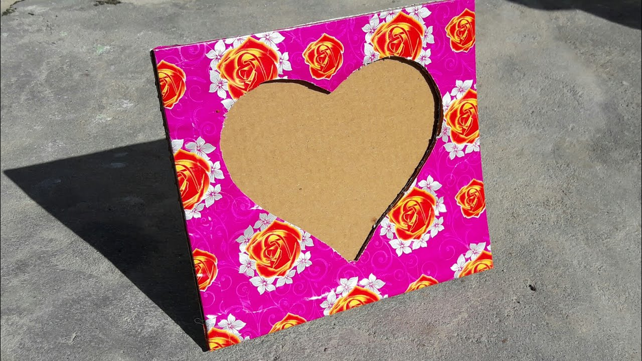 How to make heart shaped photo frame using cardboard at home - YouTube