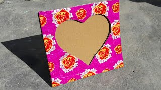 How To Make Photo Frame Using Cardboard At Home