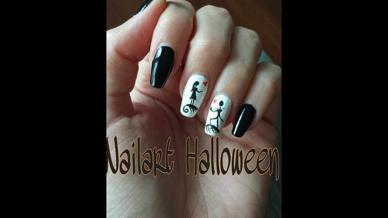 Nail art halloween Tim Burton // Lisa Nac - YouTube