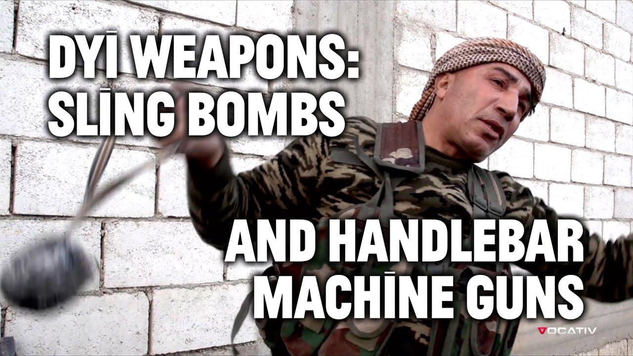 Makeshift weapons sling bombs handlebar machine guns