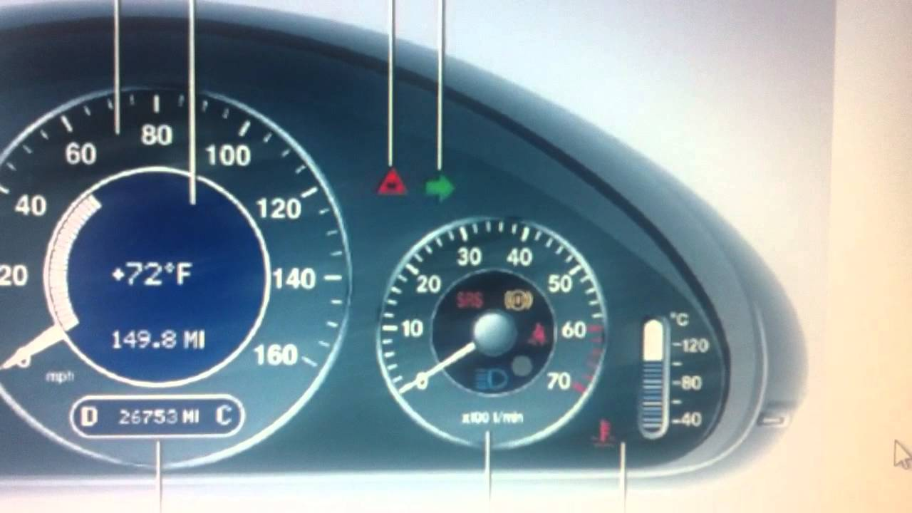 Mercedes e class w211 dashboard warning lights symbols for Mercedes benz dashboard lights not working