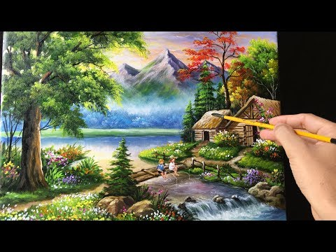 Painting a Beautiful Mountain Landscape with Acrylics