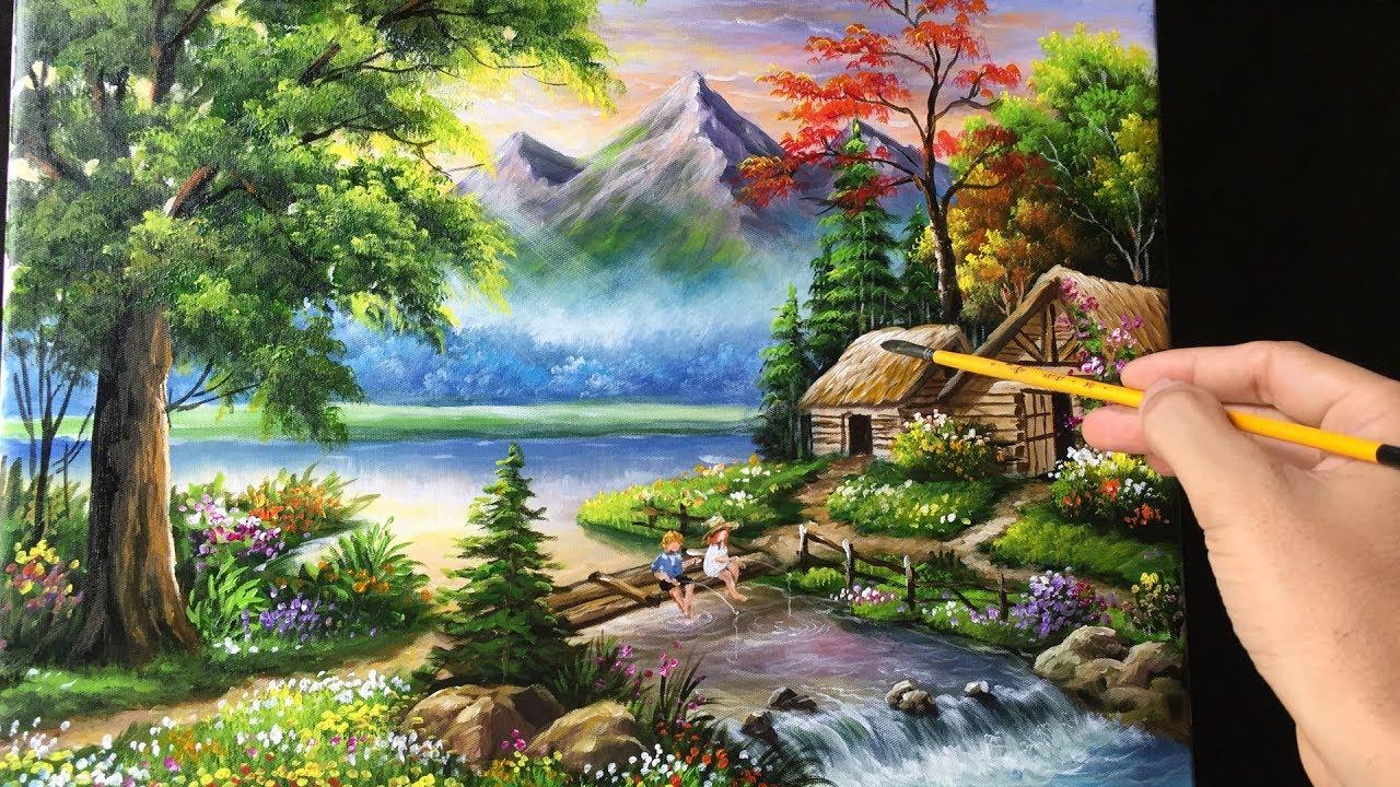 painting beautiful mountain landscape