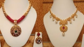 Diwali Collection 2019 | GRT Jewellery  Latest Short Ruby Gold Necklace Designs
