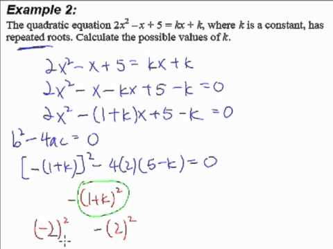 3. quadratic equations and inequalities - example 2 (repeated root