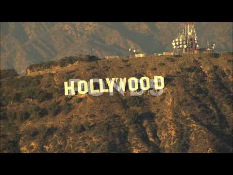 Aerial Hollywood Sign Los Angeles Usa Film Business Travel