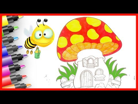 HOW TO DRAW mushroom house/ kids drawing 🔴 Fun Rainbow