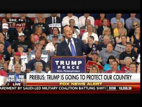 AWESOME! RNC Chair Reince Priebus Introduces Trump at Erie, PA Rally!