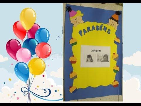 Cartaz de aniversário para sala de aula.