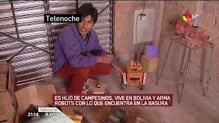 """E.Quispe arma robots con basura, en """"Telenoche"""" de Santillá..."""