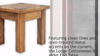 Lodge Cottonwood & Alder End Table - Lonestarwesterndecor.com