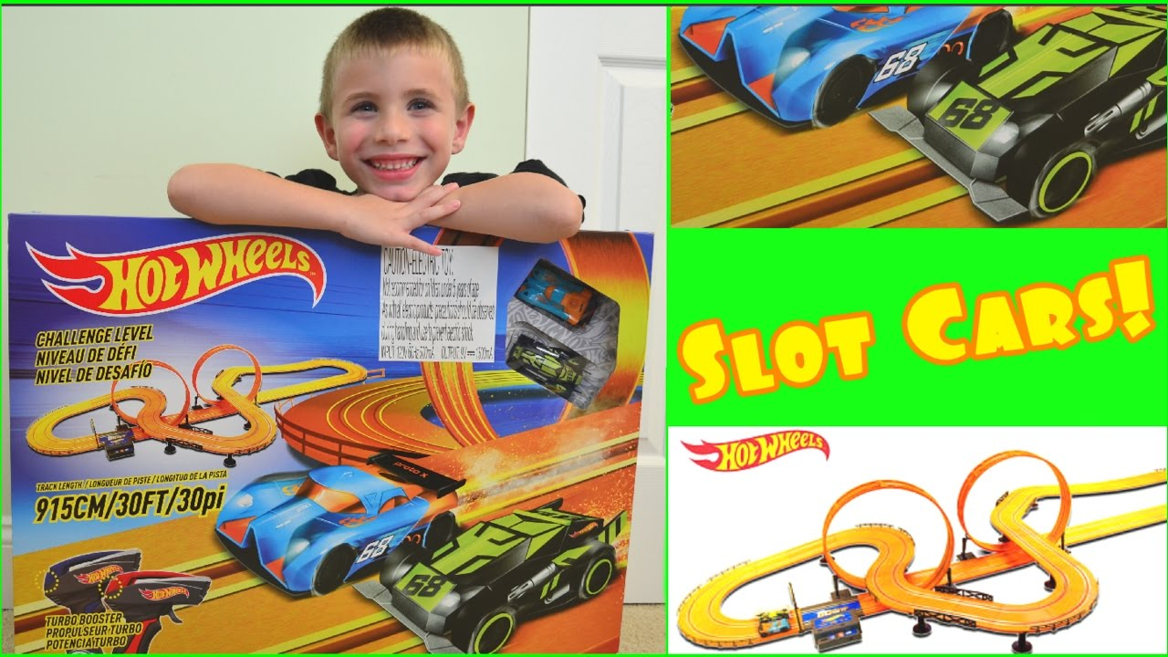 hot wheels slot car race track set unboxing review electric race track kids hot wheels mayhem