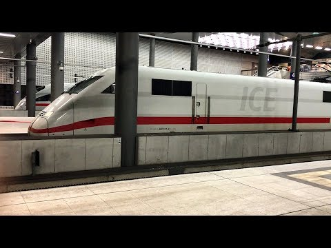 DEUTSCHE BAHN Incoming ICE train takes its place along its peer at Berlin Hauptbahnhof station