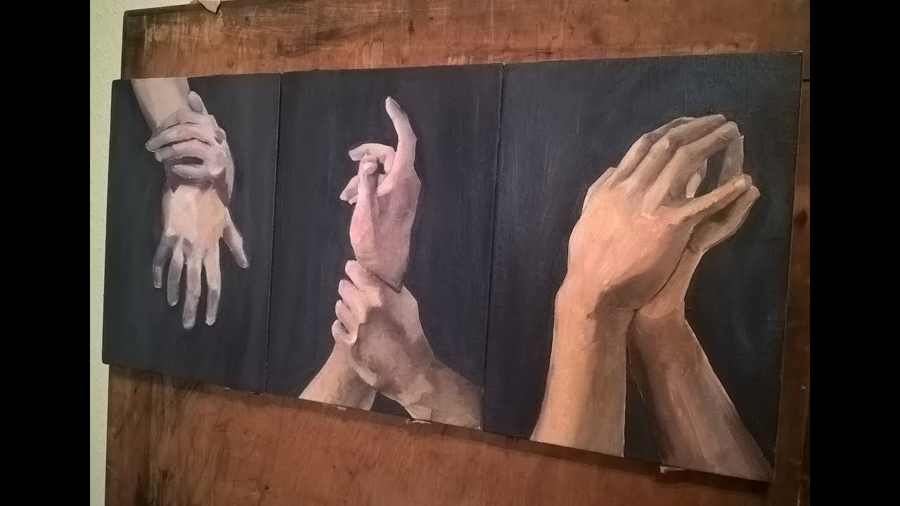 Time Lapse Painting Hands Oil On Canvas