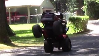 Lawn mower wheelie tractor
