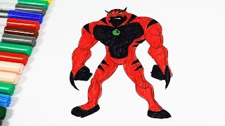 Coloring Pages Ben 10 Ultimate Rath Red - Coloring Videos Ben 10 Coloring Book 2018